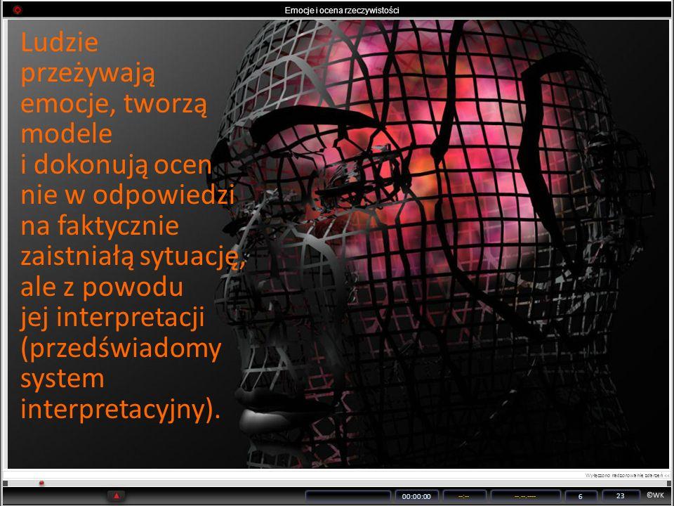 ©WK 00:00:00 --:----.--.---- 6 23 Emocje i ocena rzeczywistości Ludzie przeżywają emocje, tworzą modele i dokonują ocen nie w odpowiedzi na faktycznie
