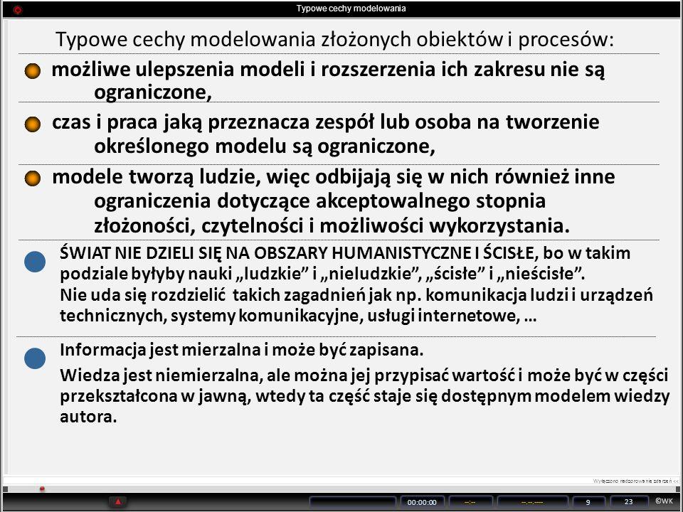 ©WK 00:00:00 --:----.--.---- 9 23 Typowe cechy modelowania Typowe cechy modelowania złożonych obiektów i procesów: możliwe ulepszenia modeli i rozszer