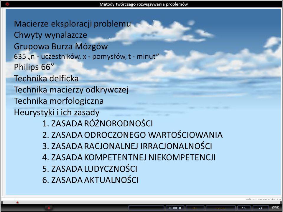 ©WK 00:00:00 --:----.--.---- 16 23 Metody twórczego rozwiązywania problemów Macierze eksploracji problemu Chwyty wynalazcze Grupowa Burza Mózgów 635 n