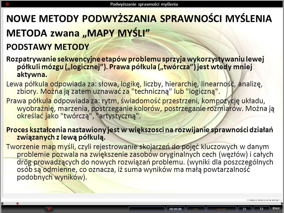 ©WK 00:00:00 --:----.--.---- 21 23 Podwyższanie sprawności myślenia NOWE METODY PODWYŻSZANIA SPRAWNOŚCI MYŚLENIA METODA zwana MAPY MYŚLI PODSTAWY METO