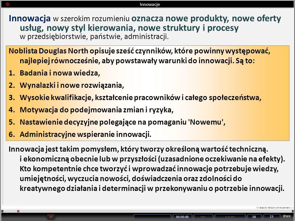 ©WK 00:00:00 --:----.--.---- 28 23 Innowacje Innowacja w szerokim rozumieniu oznacza nowe produkty, nowe oferty usług, nowy styl kierowania, nowe stru
