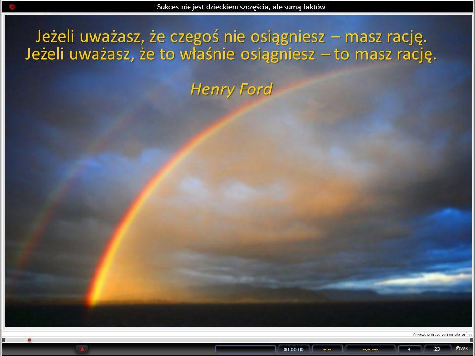 ©WK 00:00:00 --:----.--.---- 3 23 Sukces nie jest dzieckiem szczęścia, ale sumą faktów Jeżeli uważasz, że czegoś nie osiągniesz – masz rację. Jeżeli u