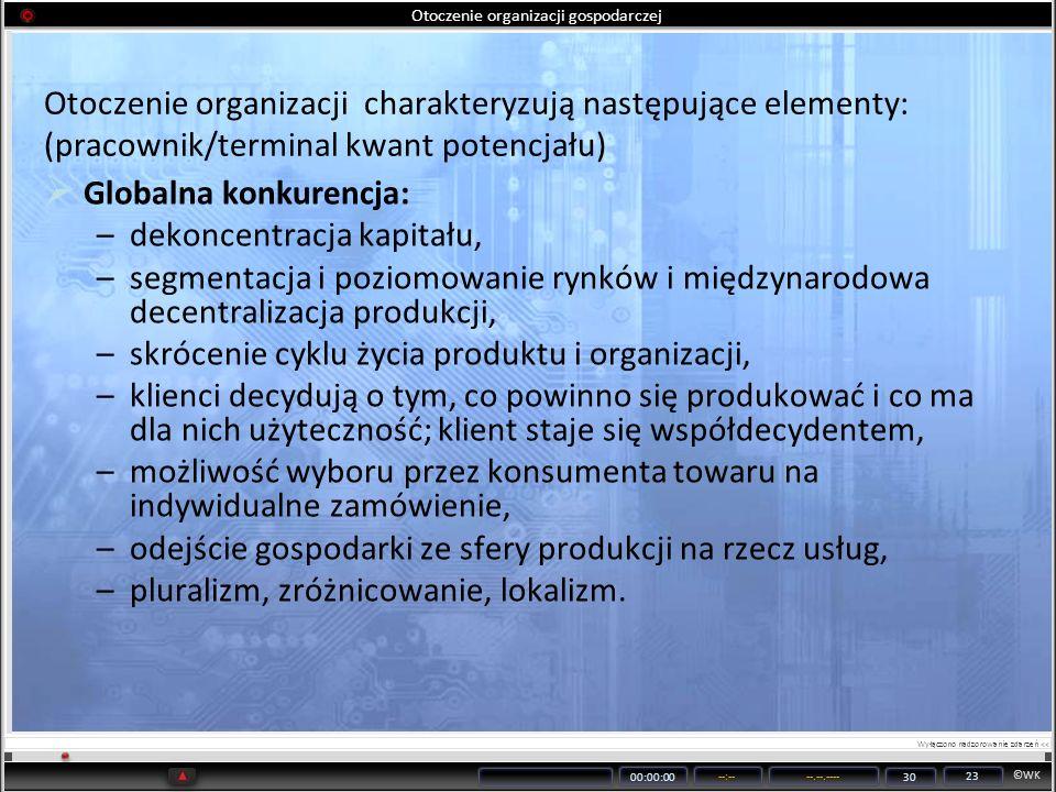 ©WK 00:00:00 --:----.--.---- 30 23 Otoczenie organizacji gospodarczej Otoczenie organizacji charakteryzują następujące elementy: (pracownik/terminal k