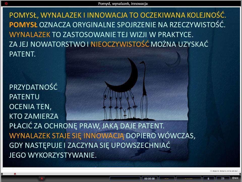 ©WK 00:00:00 --:----.--.---- 8 23 Pomysł, wynalazek, innowacja POMYSŁ, WYNALAZEK I INNOWACJA TO OCZEKIWANA KOLEJNOŚĆ. POMYSŁ OZNACZA ORYGINALNE SPOJRZ