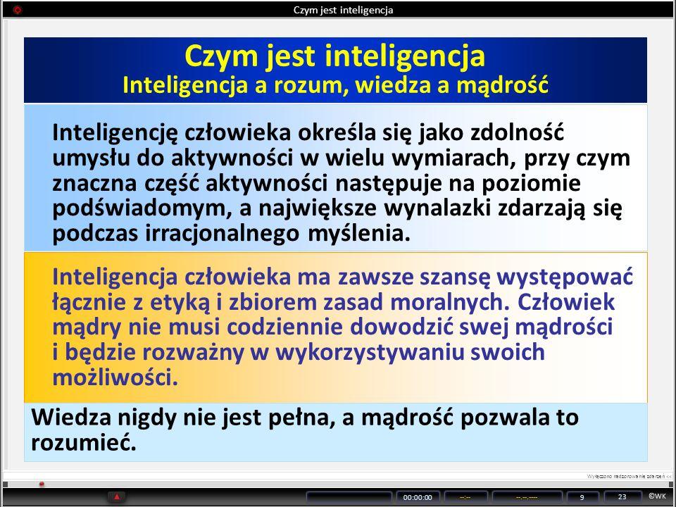 ©WK 00:00:00 --:----.--.---- 9 23 Czym jest inteligencja Inteligencję człowieka określa się jako zdolność umysłu do aktywności w wielu wymiarach, przy