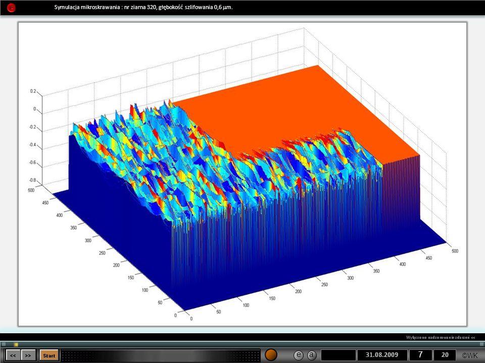 ©WK 7 e a Symulacja mikroskrawania : nr ziarna 320, głębokość szlifowania 0,6 m.
