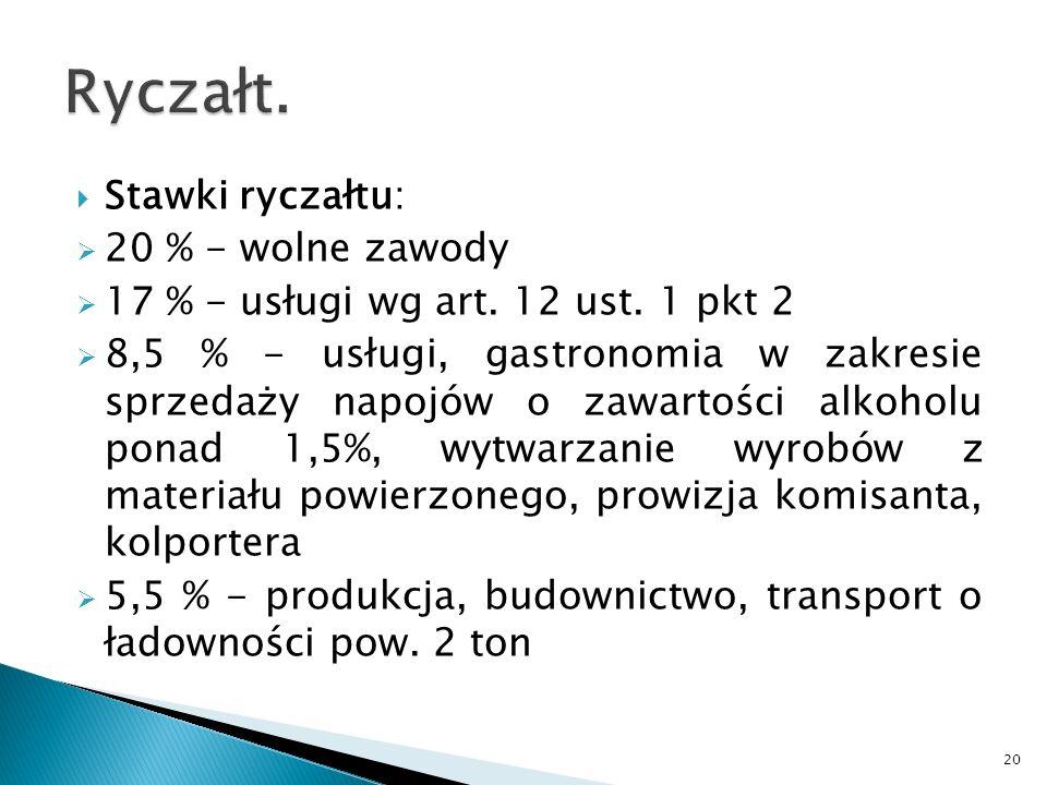 Stawki ryczałtu: 20 % - wolne zawody 17 % - usługi wg art. 12 ust. 1 pkt 2 8,5 % - usługi, gastronomia w zakresie sprzedaży napojów o zawartości alkoh