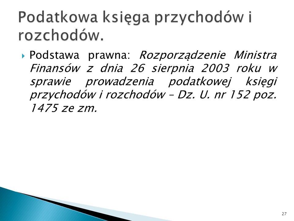 Podstawa prawna: Rozporządzenie Ministra Finansów z dnia 26 sierpnia 2003 roku w sprawie prowadzenia podatkowej księgi przychodów i rozchodów – Dz. U.