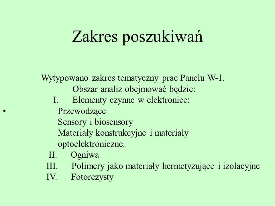 Zakres poszukiwań Wytypowano zakres tematyczny prac Panelu W-1. Obszar analiz obejmować będzie: I. Elementy czynne w elektronice: Przewodzące Sensory