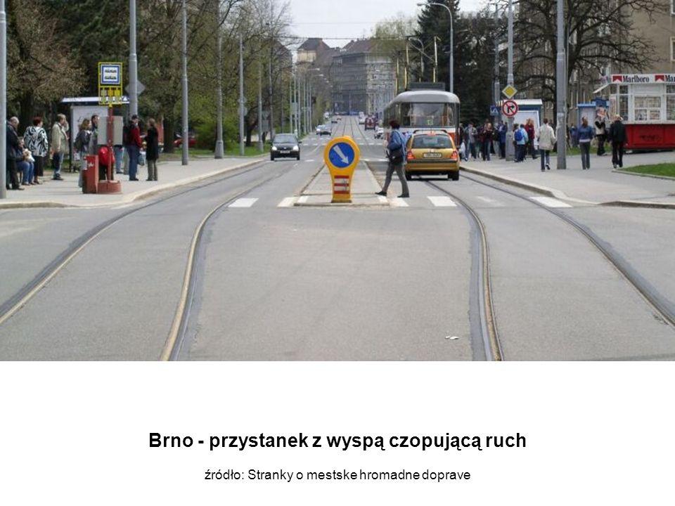 Brno - przystanek z wyspą czopującą ruch źródło: Stranky o mestske hromadne doprave