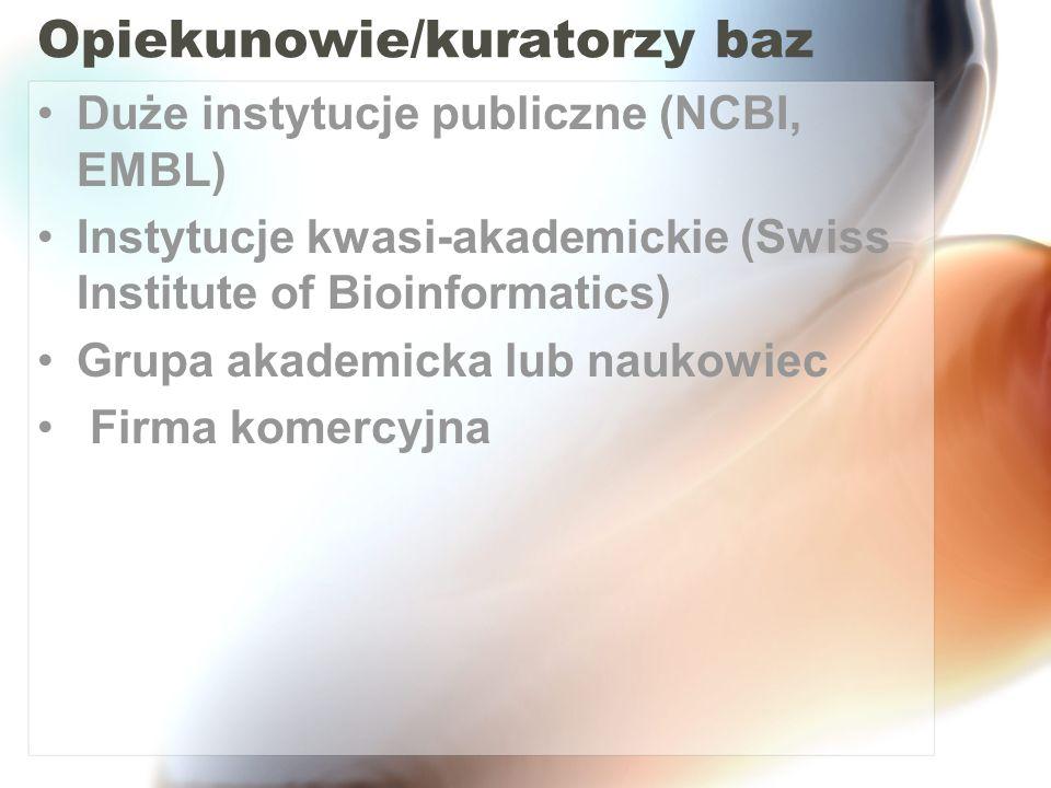 Opiekunowie/kuratorzy baz Duże instytucje publiczne (NCBI, EMBL) Instytucje kwasi-akademickie (Swiss Institute of Bioinformatics) Grupa akademicka lub