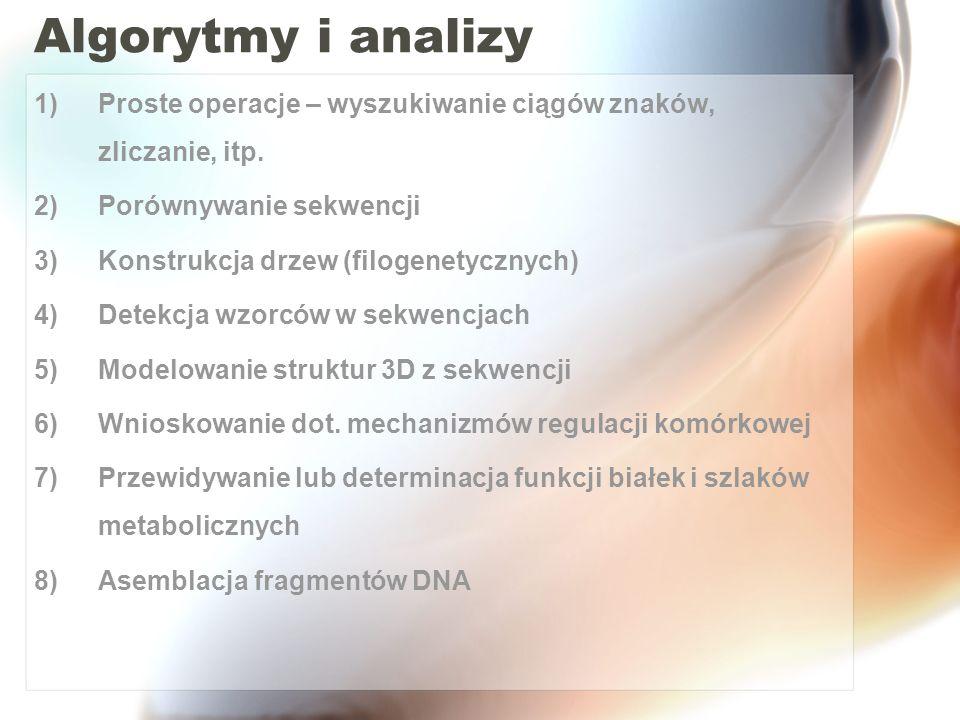 Algorytmy i analizy 1)Proste operacje – wyszukiwanie ciągów znaków, zliczanie, itp. 2)Porównywanie sekwencji 3)Konstrukcja drzew (filogenetycznych) 4)