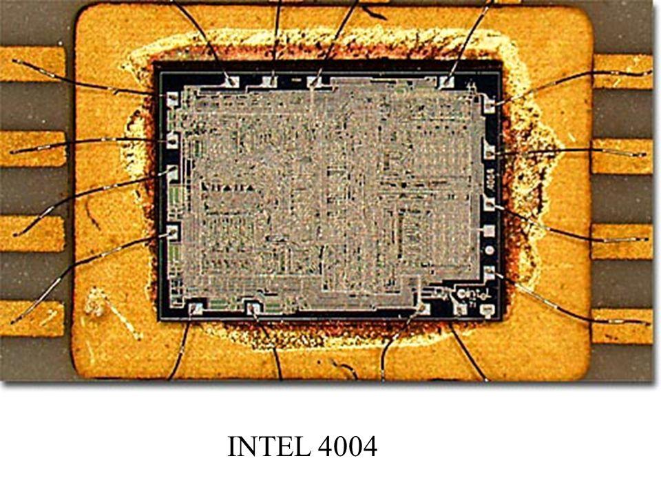 I generacja 1971r. – opracowanie pierwszego mikroprocesora 4-bitowego Intel 4004 (PMOS), 34 rozkazy, 2300 tranzystorów, 60000 rozkazów/s, przestrzeń a