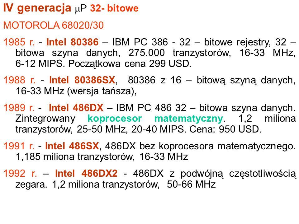 III generacja. 1978r. – Pierwsze P 16 - bitowe. Intel 8086 (PC/XT IBM) – 16 bitowe rejestry, 16 – bitowa szyna danych. Wprowadzony: czerwiec 1978. 29.