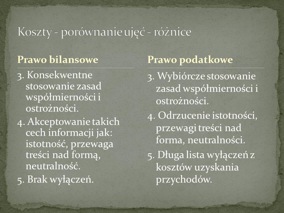 Prawo bilansowe 3. Konsekwentne stosowanie zasad współmierności i ostrożności. 4. Akceptowanie takich cech informacji jak: istotność, przewaga treści