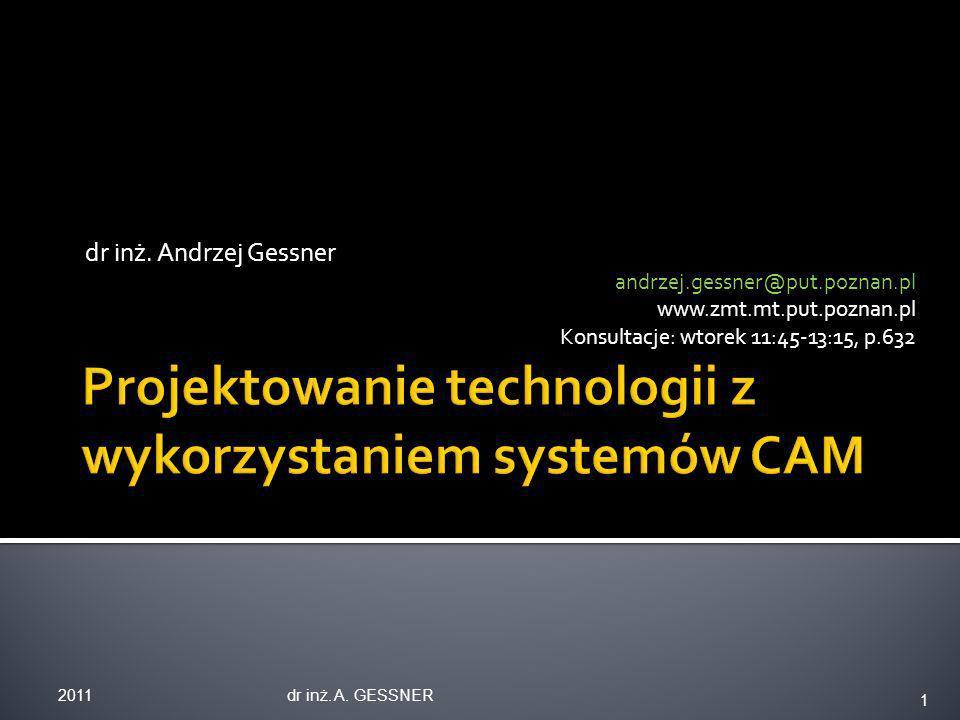 dr inż. Andrzej Gessner andrzej.gessner@put.poznan.pl www.zmt.mt.put.poznan.pl Konsultacje: wtorek 11:45-13:15, p.632 2011dr inż. A. GESSNER 1