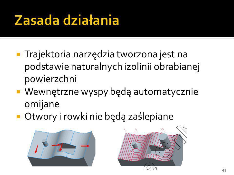 Trajektoria narzędzia tworzona jest na podstawie naturalnych izolinii obrabianej powierzchni Wewnętrzne wyspy będą automatycznie omijane Otwory i rowk