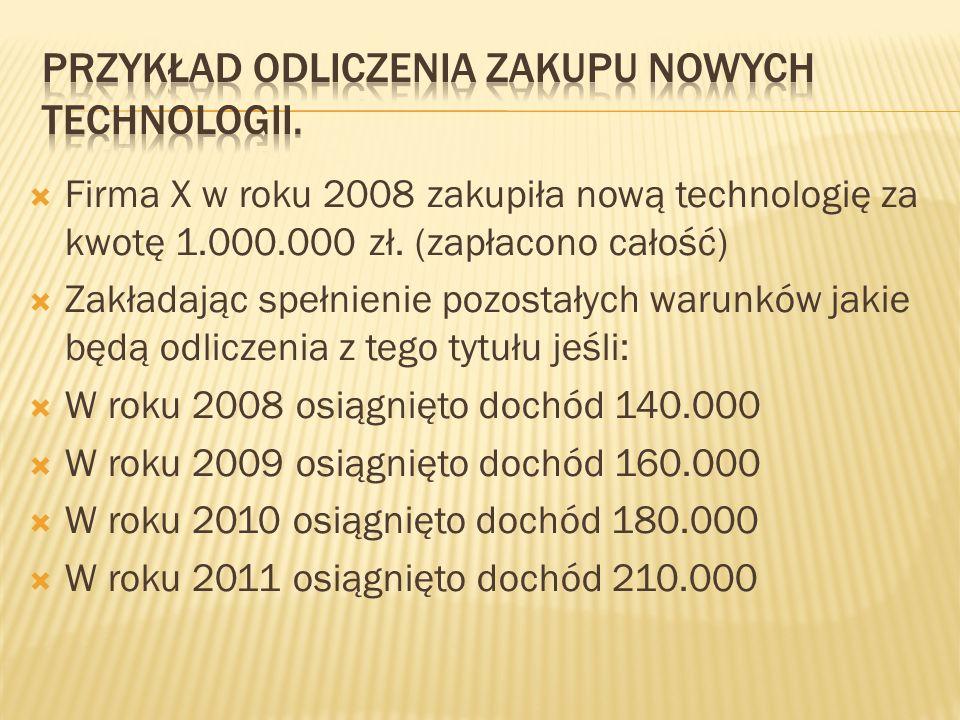 Firma X w roku 2008 zakupiła nową technologię za kwotę 1.000.000 zł. (zapłacono całość) Zakładając spełnienie pozostałych warunków jakie będą odliczen