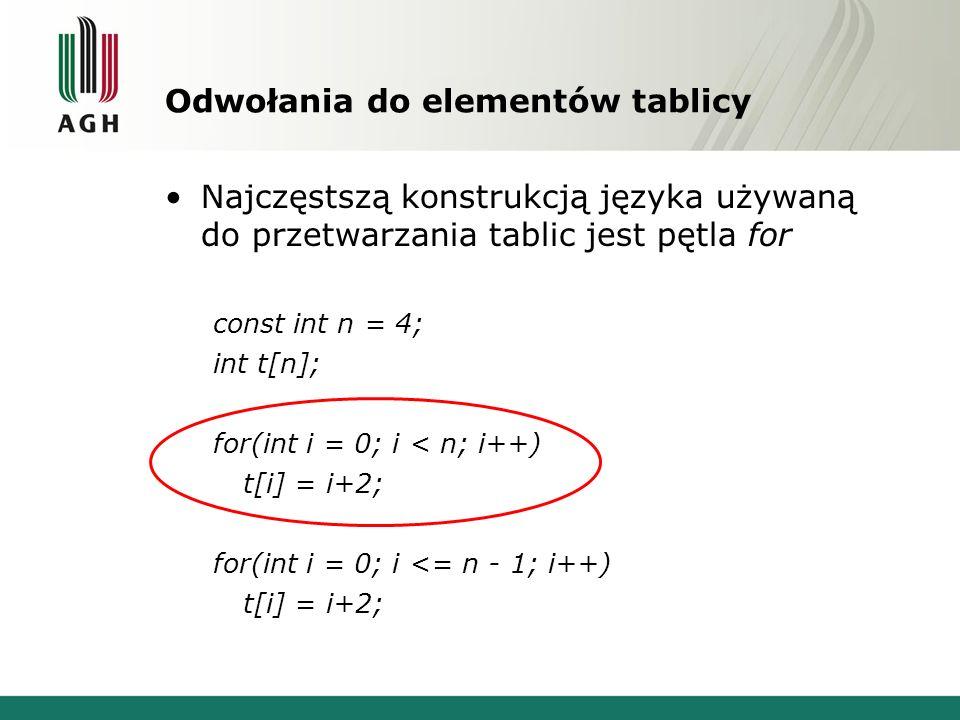 Odwołania do elementów tablicy Najczęstszą konstrukcją języka używaną do przetwarzania tablic jest pętla for const int n = 4; int t[n]; for(int i = 0;