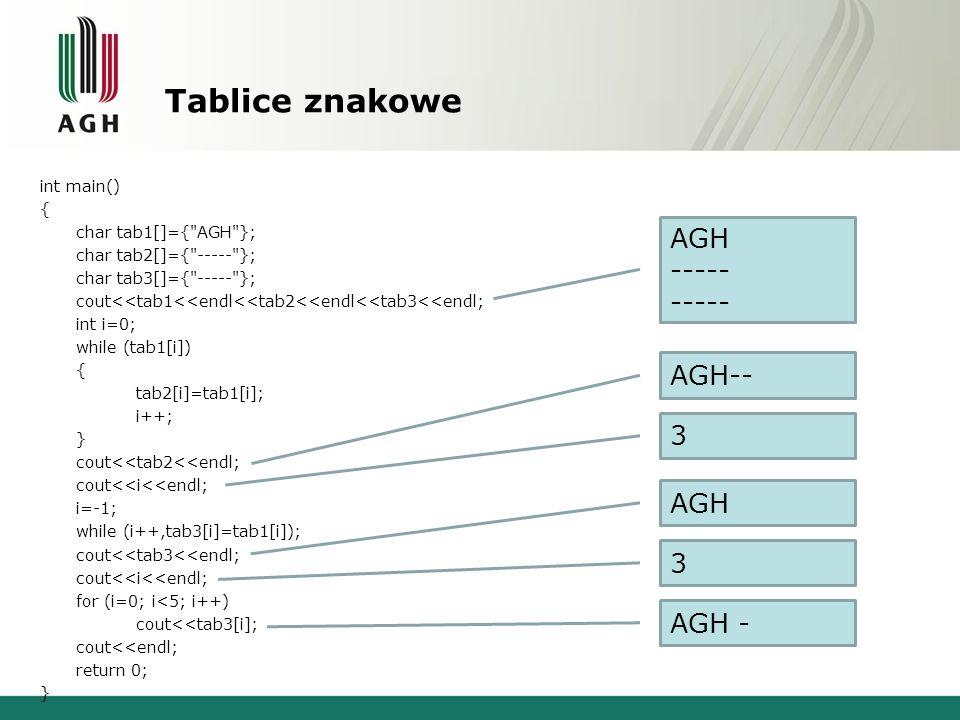 Tablice znakowe int main() { char tab1[]={