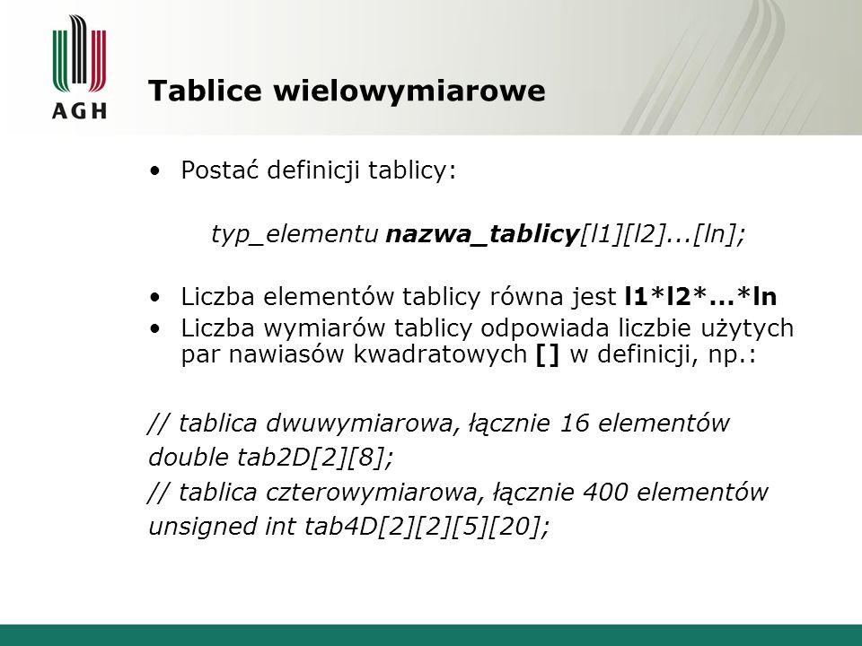 Tablice wielowymiarowe Postać definicji tablicy: typ_elementu nazwa_tablicy[l1][l2]...[ln]; Liczba elementów tablicy równa jest l1*l2*...*ln Liczba wy