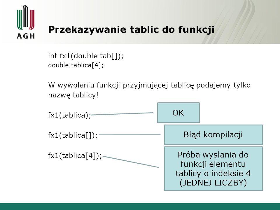 Przekazywanie tablic do funkcji int fx1(double tab[]); double tablica[4]; W wywołaniu funkcji przyjmującej tablicę podajemy tylko nazwę tablicy! fx1(t