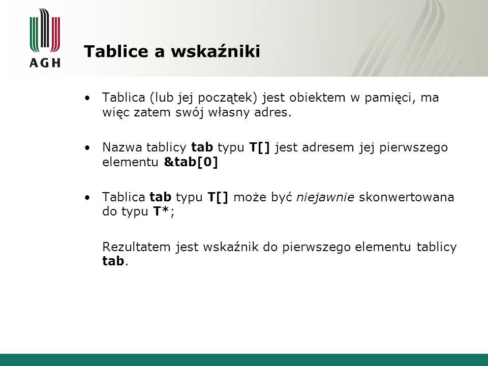 Tablice a wskaźniki Tablica (lub jej początek) jest obiektem w pamięci, ma więc zatem swój własny adres. Nazwa tablicy tab typu T[] jest adresem jej p