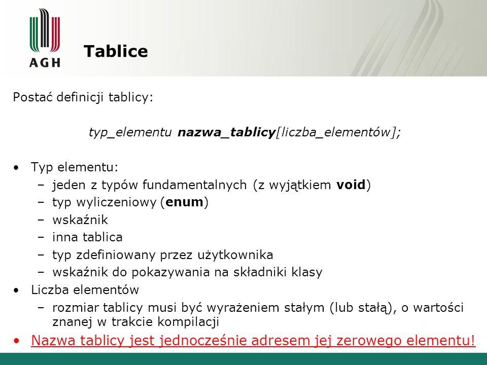 Tablice a wskaźniki Tablica obiektów typu int: int a[10];// a typu: int [10] int* pn = &a[3];// pn typu: int* *pn = 7;// a[3] = 7 int* pa = a;// pa typu: int* // nastąpiła konwersja: int[] int* pa[3] = 7;// a[3] = 7 Tablica obiektów typu int* (wskaźników): int n;// n typu: int int* ap[10];// ap typu: int *[10] ap[3] = &n;// ustawiamy adres n *ap[3] = 7;// n = 7