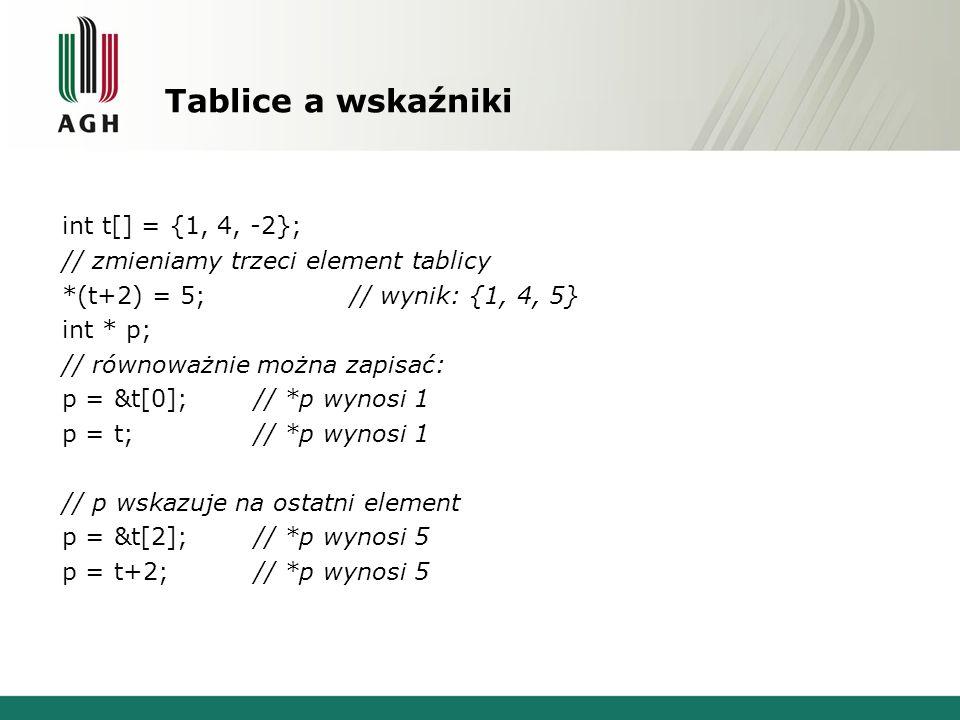 Tablice a wskaźniki int t[] = {1, 4, -2}; // zmieniamy trzeci element tablicy *(t+2) = 5;// wynik: {1, 4, 5} int * p; // równoważnie można zapisać: p