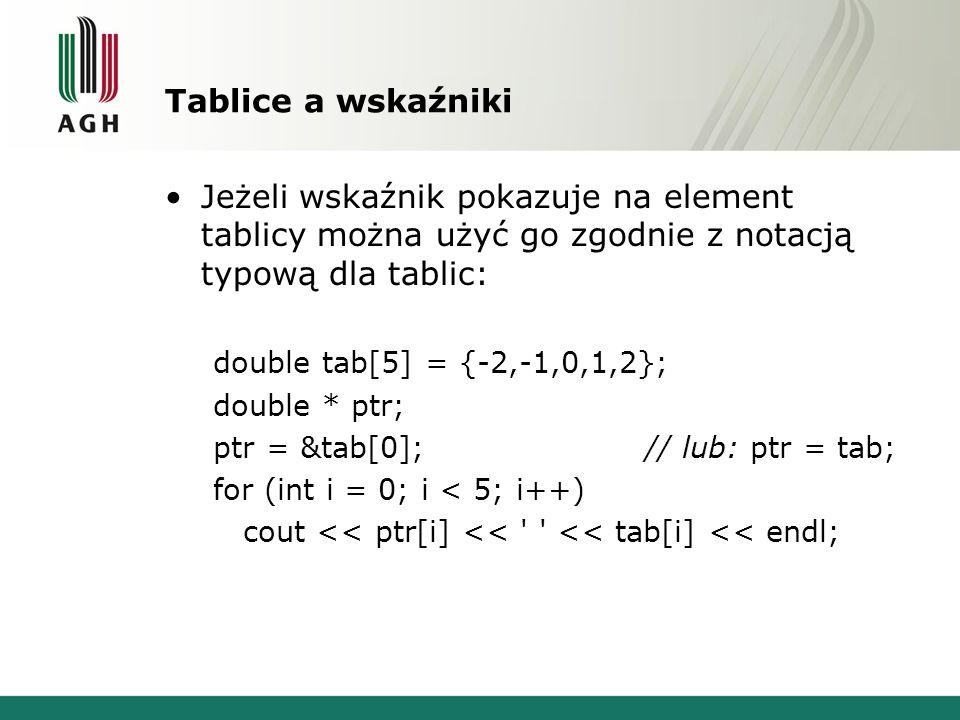 Tablice a wskaźniki Jeżeli wskaźnik pokazuje na element tablicy można użyć go zgodnie z notacją typową dla tablic: double tab[5] = {-2,-1,0,1,2}; doub