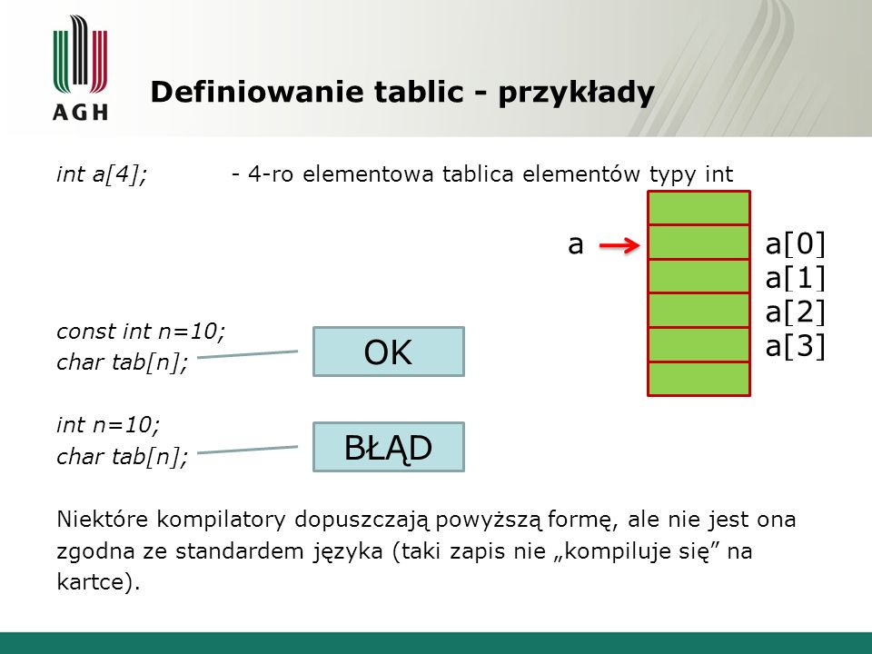 Tablice znakowe int main() { char tab1[]={ AGH }; char tab2[]={ ----- }; char tab3[]={ ----- }; cout<<tab1<<endl<<tab2<<endl<<tab3<<endl; int i=0; while (tab1[i]) { tab2[i]=tab1[i]; i++; } cout<<tab2<<endl; cout<<i<<endl; i=-1; while (i++,tab3[i]=tab1[i]); cout<<tab3<<endl; cout<<i<<endl; for (i=0; i<5; i++) cout<<tab3[i]; cout<<endl; return 0; } AGH ----- AGH-- AGH AGH - 3 3