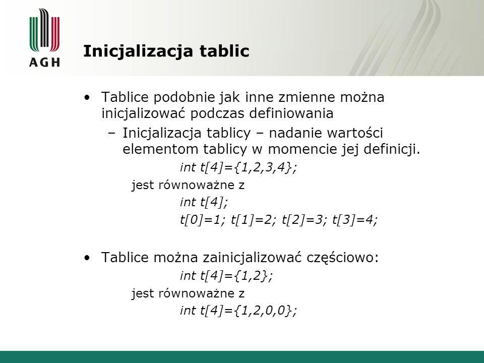 Inicjalizacja tablic Tablice podobnie jak inne zmienne można inicjalizować podczas definiowania –Inicjalizacja tablicy – nadanie wartości elementom ta