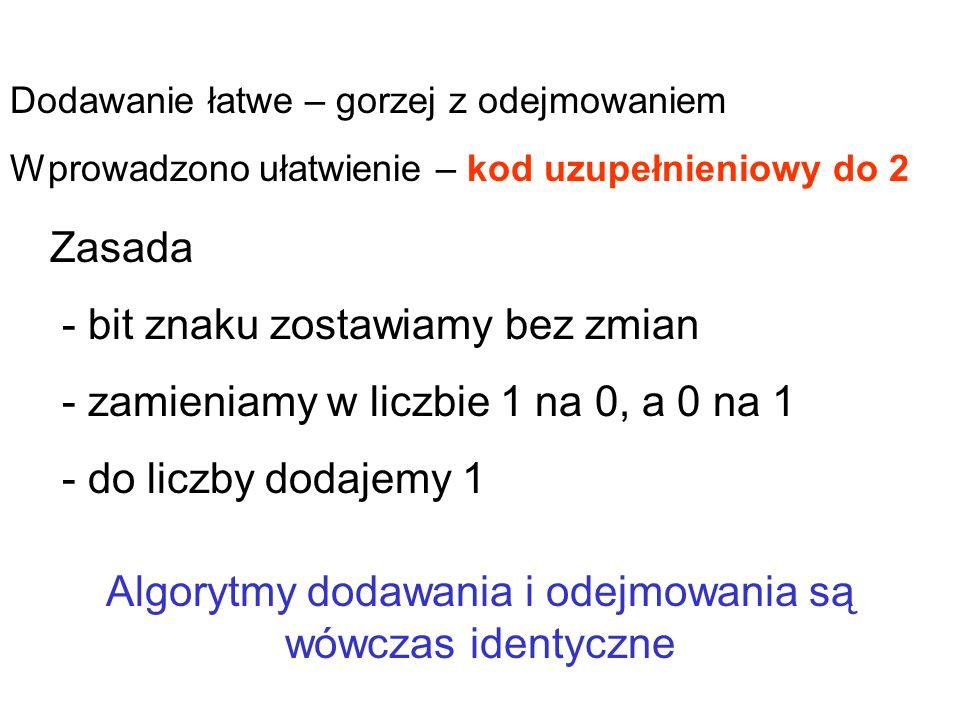 0,10100101+165 1,10100101 – 165 znak – Zapis liczb binarnych: Metoda ZM – znak-moduł znak +