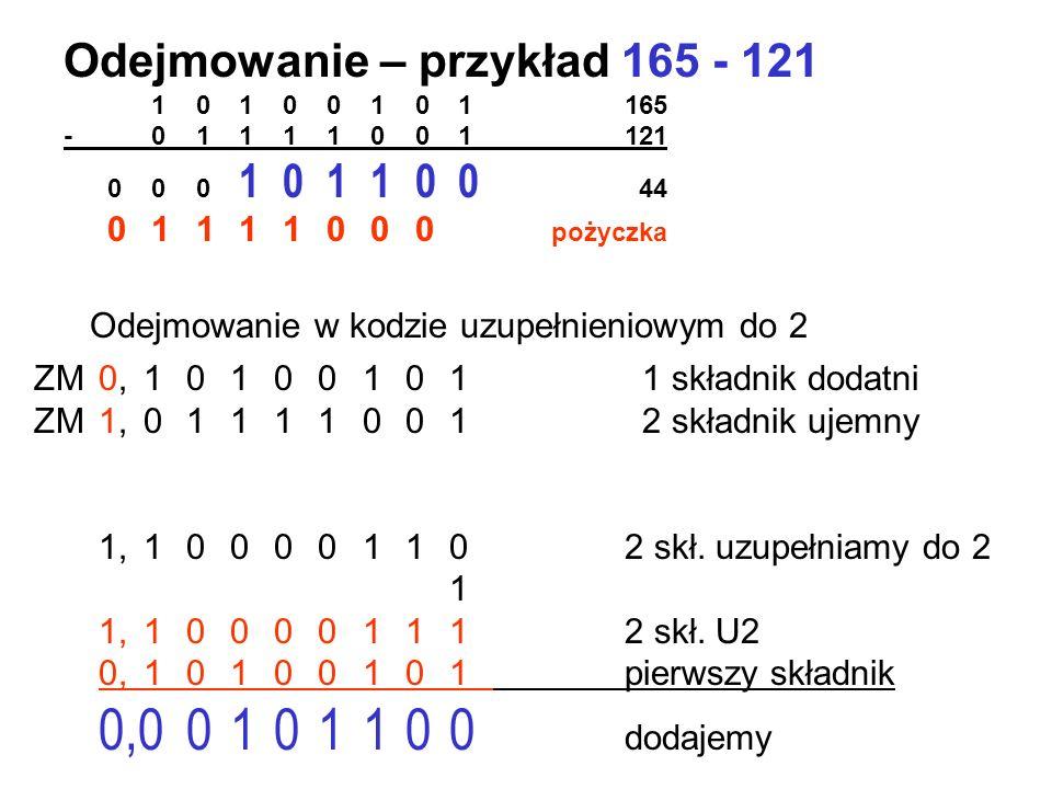 Dodawanie łatwe – gorzej z odejmowaniem Wprowadzono ułatwienie – kod uzupełnieniowy do 2 Zasada - bit znaku zostawiamy bez zmian - zamieniamy w liczbi