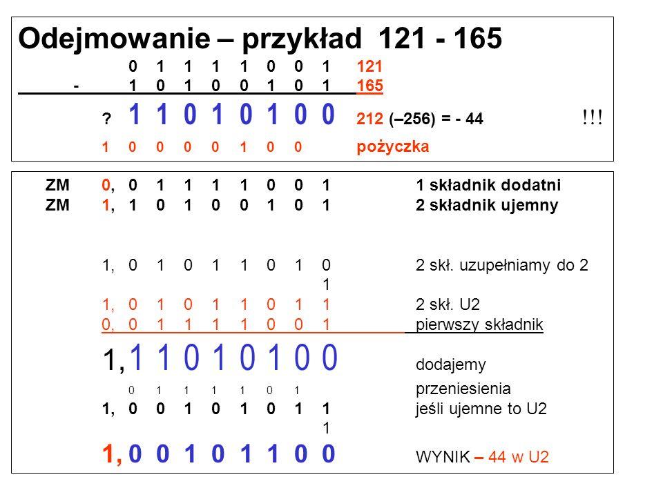 Odejmowanie – przykład 165 - 121 10100101165 -01111001121 000 101100 44 01111000 pożyczka Odejmowanie w kodzie uzupełnieniowym do 2 ZM0,101001011 skła