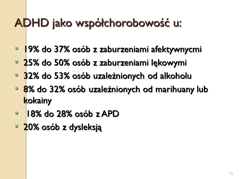 16 ADHD jako współchorobowość u: 19% do 37% osób z zaburzeniami afektywnycmi 19% do 37% osób z zaburzeniami afektywnycmi 25% do 50% osób z zaburzeniam