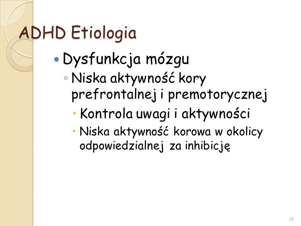 ADHD Etiologia Dysfunkcja mózgu Niska aktywność kory prefrontalnej i premotorycznej Kontrola uwagi i aktywności Niska aktywność korowa w okolicy odpow