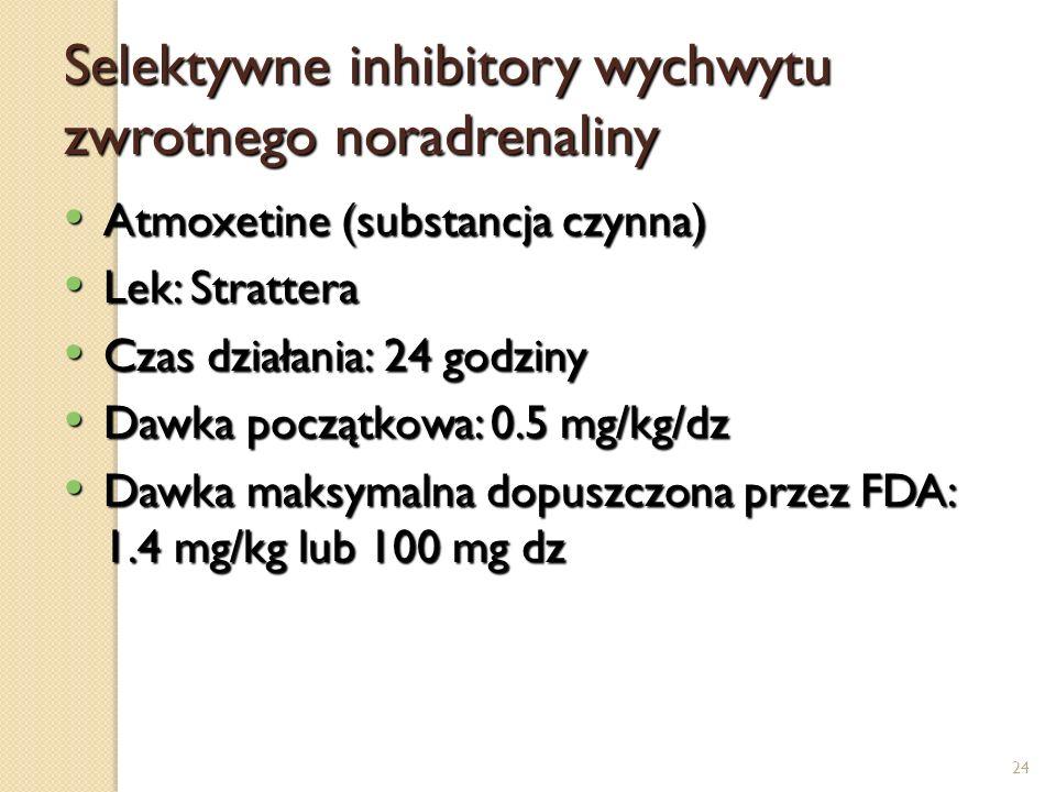 24 Selektywne inhibitory wychwytu zwrotnego noradrenaliny Atmoxetine (substancja czynna) Atmoxetine (substancja czynna) Lek: Strattera Lek: Strattera