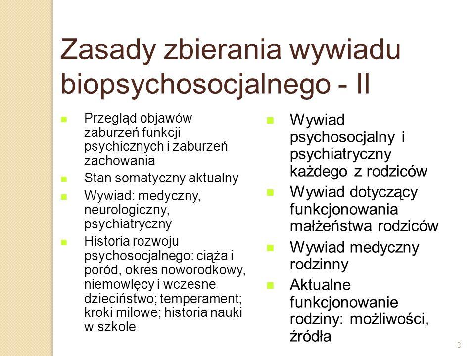 3 Zasady zbierania wywiadu biopsychosocjalnego - II Przegląd objawów zaburzeń funkcji psychicznych i zaburzeń zachowania Stan somatyczny aktualny Wywi