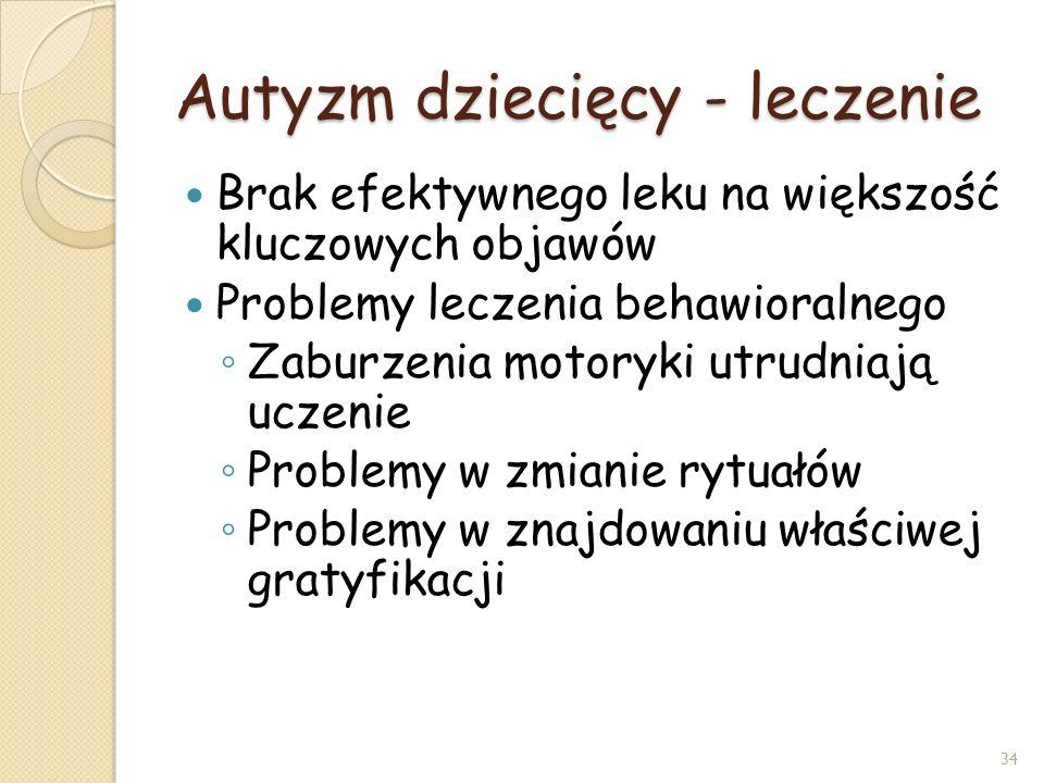 Autyzm dziecięcy - leczenie Brak efektywnego leku na większość kluczowych objawów Problemy leczenia behawioralnego Zaburzenia motoryki utrudniają ucze