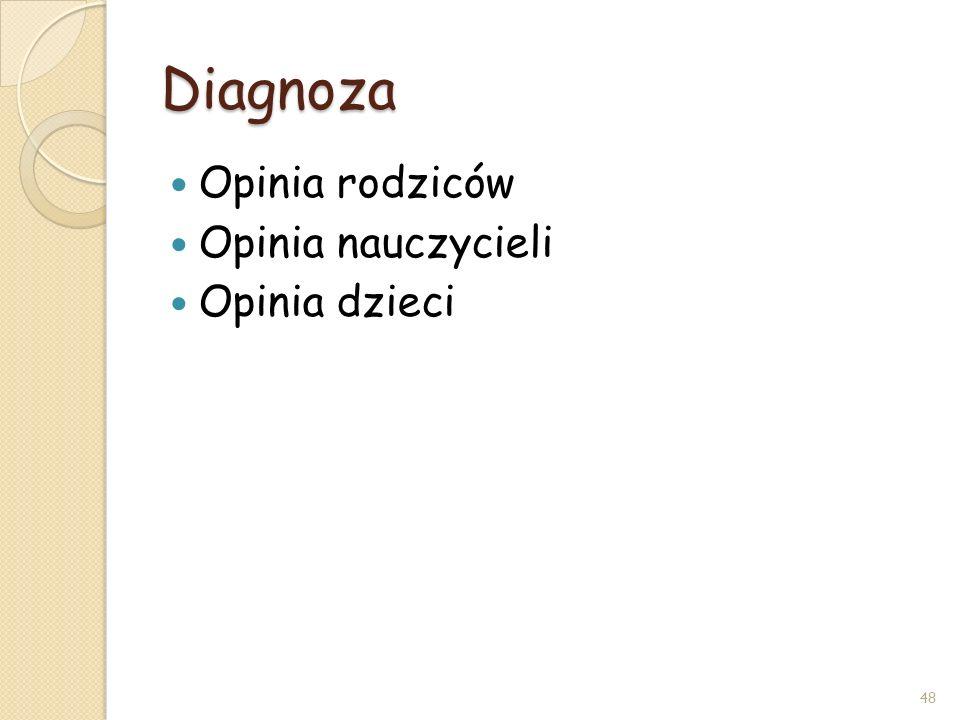 Diagnoza Opinia rodziców Opinia nauczycieli Opinia dzieci 48