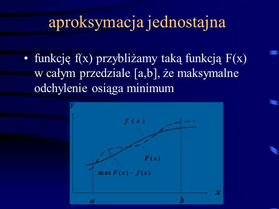 aproksymacja jednostajna funkcję f(x) przybliżamy taką funkcją F(x) w całym przedziale [a,b], że maksymalne odchylenie osiąga minimum