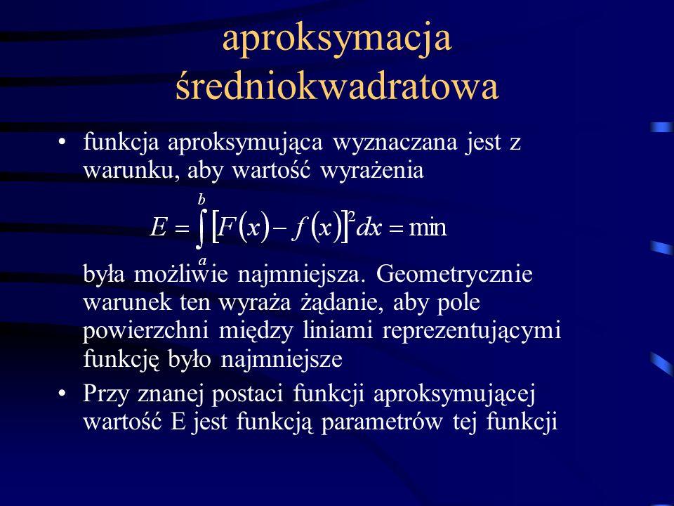 aproksymacja średniokwadratowa funkcja aproksymująca wyznaczana jest z warunku, aby wartość wyrażenia była możliwie najmniejsza. Geometrycznie warunek