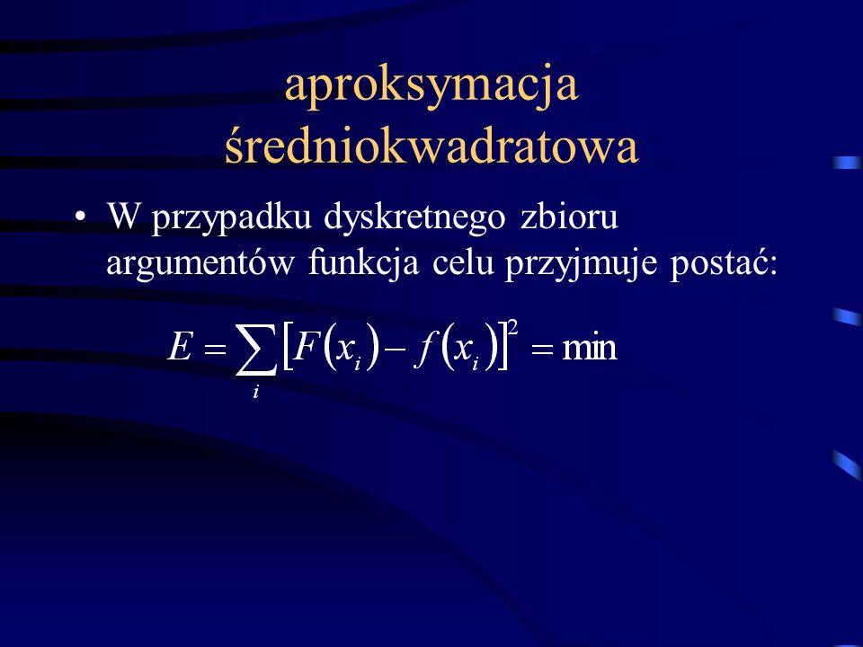 aproksymacja średniokwadratowa W przypadku dyskretnego zbioru argumentów funkcja celu przyjmuje postać: