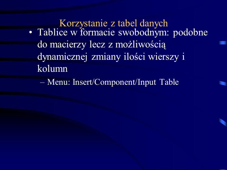 Korzystanie z tabel danych Tablice w formacie swobodnym: podobne do macierzy lecz z możliwością dynamicznej zmiany ilości wierszy i kolumn –Menu: Inse