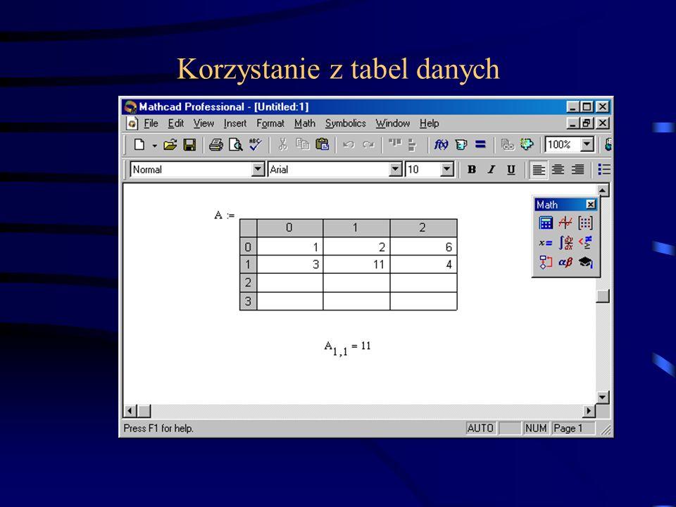 Zewnętrzne pliki z danymi, pliki w formatach rozpoznawalnych przez MathCADa (text, MatLab, QuattroPro, Lotus123, dBaseIII) –Menu: Insert/Component/File Read or Write