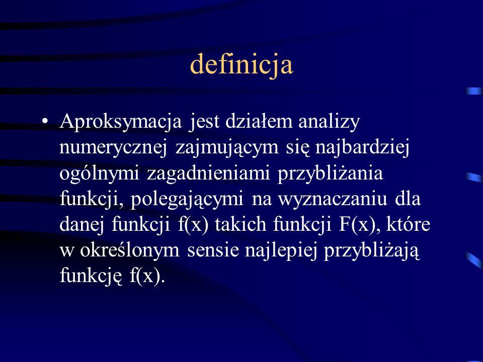 definicja Aproksymacja jest działem analizy numerycznej zajmującym się najbardziej ogólnymi zagadnieniami przybliżania funkcji, polegającymi na wyznaczaniu dla danej funkcji f(x) takich funkcji F(x), które w określonym sensie najlepiej przybliżają funkcję f(x).