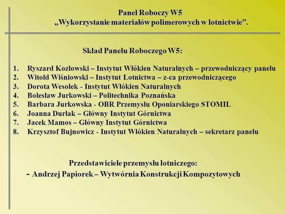 Panel Roboczy W5 Wykorzystanie materiałów polimerowych w lotnictwie. Wykorzystanie materiałów polimerowych w lotnictwie. 1.Ryszard Kozłowski – Instytu