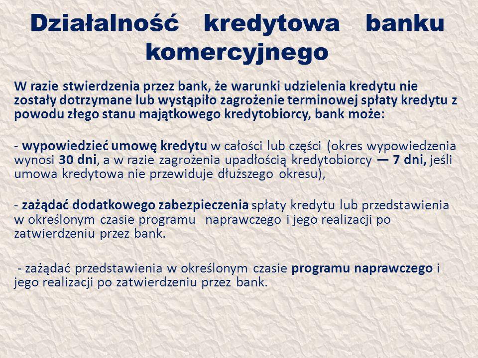 Działalność kredytowa banku komercyjnego W razie stwierdzenia przez bank, że warunki udzielenia kredytu nie zostały dotrzymane lub wystąpiło zagrożeni
