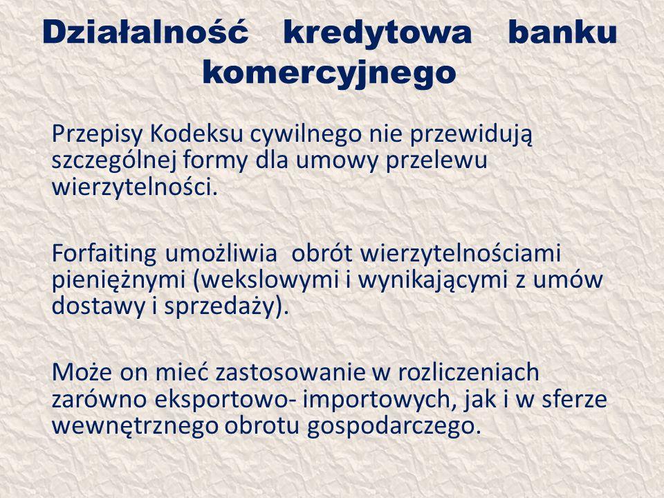 Działalność kredytowa banku komercyjnego Przepisy Kodeksu cywilnego nie przewidują szczególnej formy dla umowy przelewu wierzytelności. Forfaiting umo
